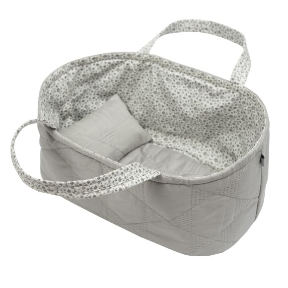 Smallstuff - Small Doll Basket with pillow and duvet - Grey Quilt