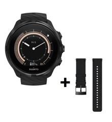 Suunto - 9 G1 Smartwatch & Suunto - Leather Strap Brown - Bundle