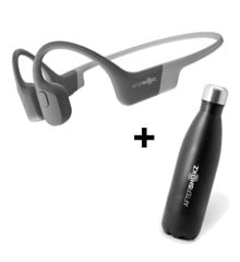 AfterShokz - Aeropex Grey & Aftershokz - Stainless Steel Vacuum Water Bottle Capacity 500ml - Bundle