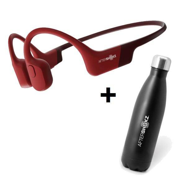 AfterShokz - Aeropex Red & Aftershokz - Stainless Steel Vacuum Water Bottle Capacity 500ml - Bundle