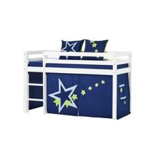 Hoppekids - BASIC Halvhøj seng med skummadreas + madrasbetræk + forhæng 70x160 - Blue Star