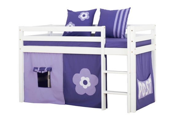 Hoppekids - BASIC Half-high bed with foam mattress + mattress cover + curtain 70x160 - Purple Flower