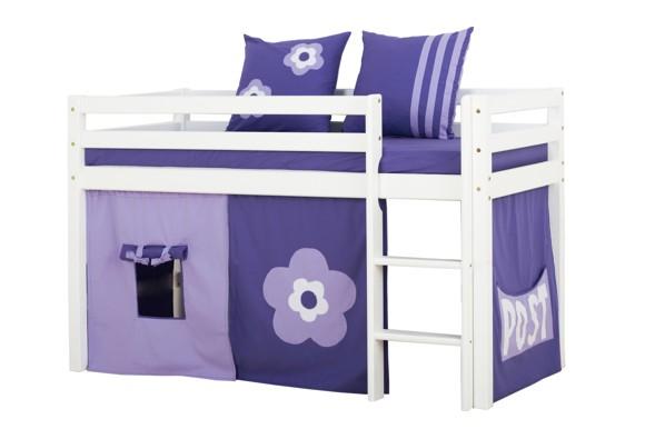 Hoppekids - BASIC Halvhøj seng med skummadreas + madrasbetræk + forhæng 70x160 - Purple Flower