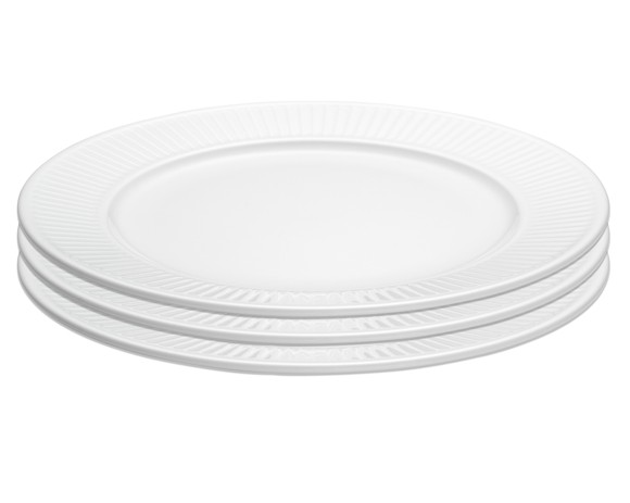 Pillivuyt - Plissé Plate Flat 3 Pack - Ø22 cm - White (214222S3)