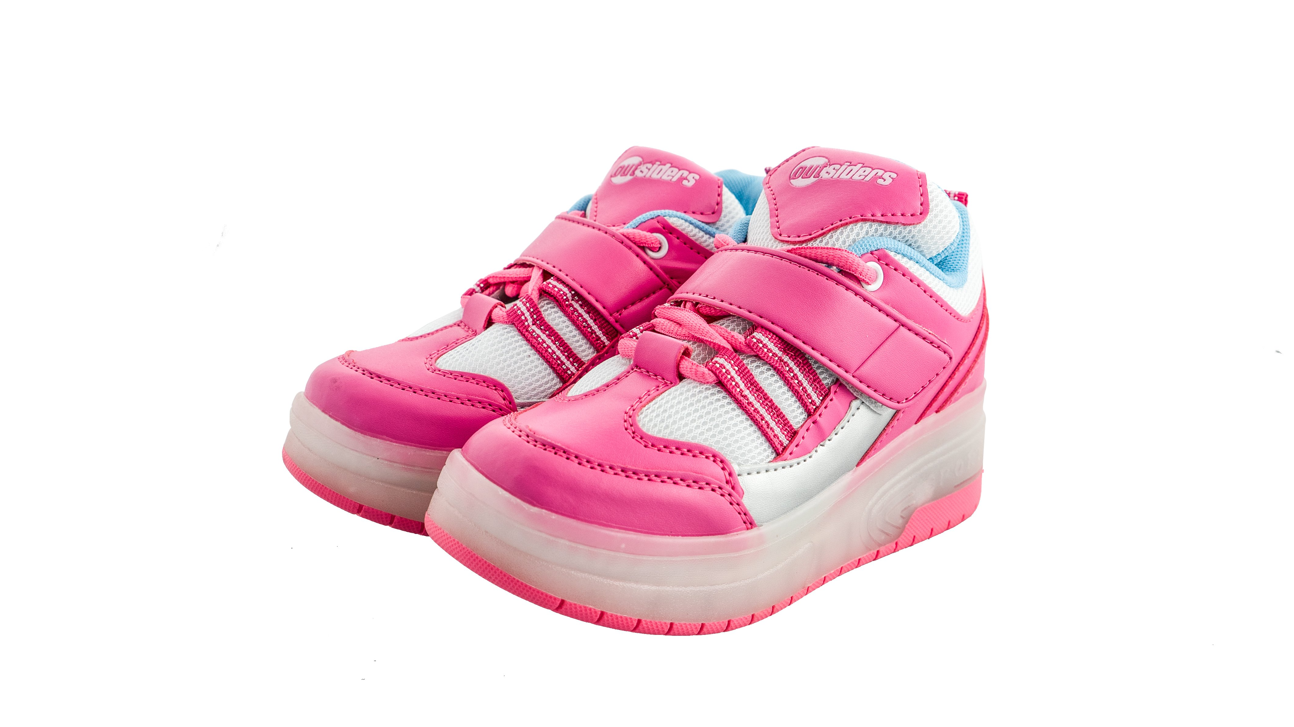 Outsiders - Roller Shoes with LED - Pink/Silver (size: 30)