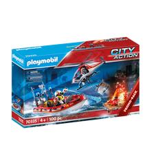 Playmobil - Brandberedskab med helikopter og båd (70335)