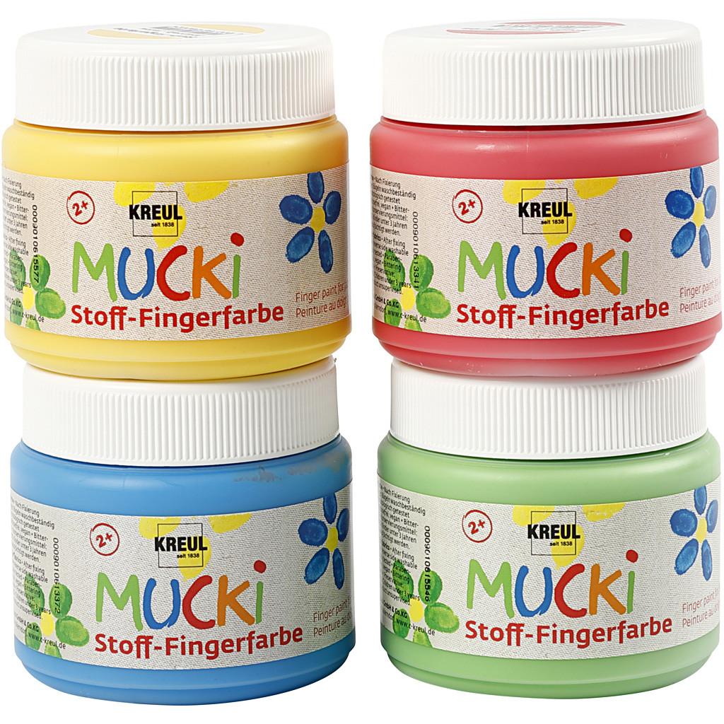 MUCKI - Finger Paint - Blue, Green, Yellow & Red (4 x 150 ml) (34770)