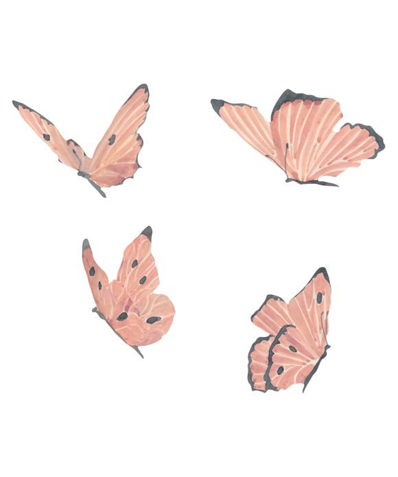That's Mine - Wall Sticker Butterflies 4 pcs - Rose (O8058)