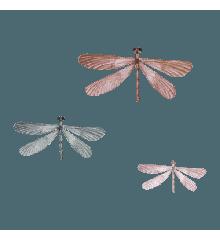 That's Mine - Wall Sticker Dragonflies 3 pcs - Blue/Orange/Ochre (O8057)