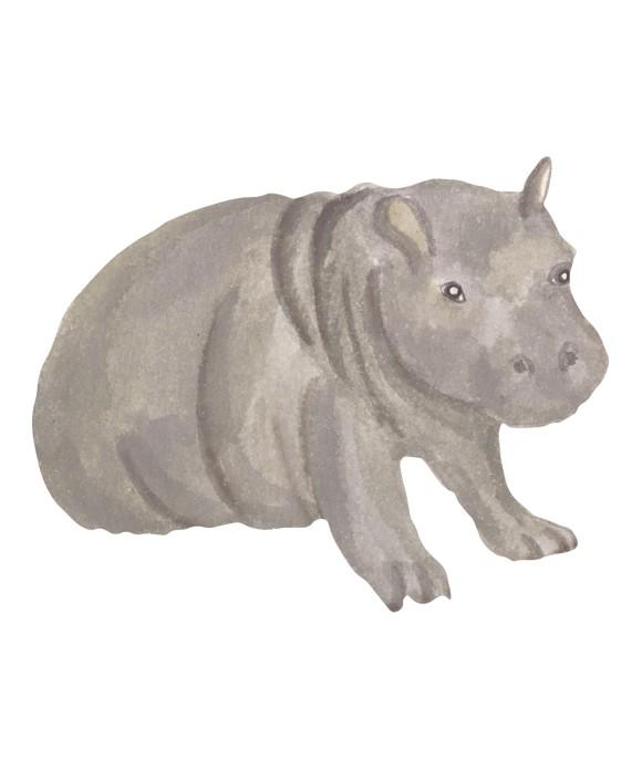 That's Mine - Wall Sticker Hippo Baby - Grey (O8089)