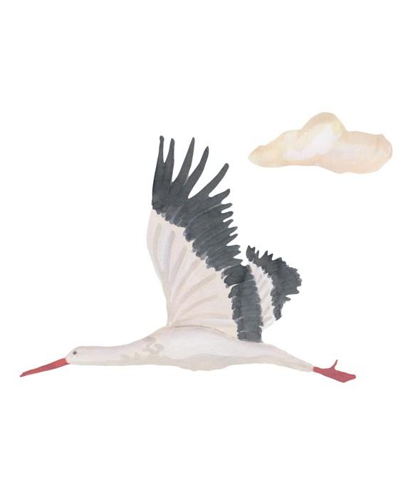 That's Mine - Wall Sticker Stork Small - White (O8069)