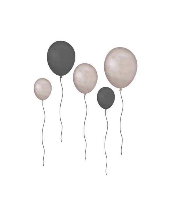 That's Mine - Wall Sticker Balloons 5 pcs - Grey (O8029)