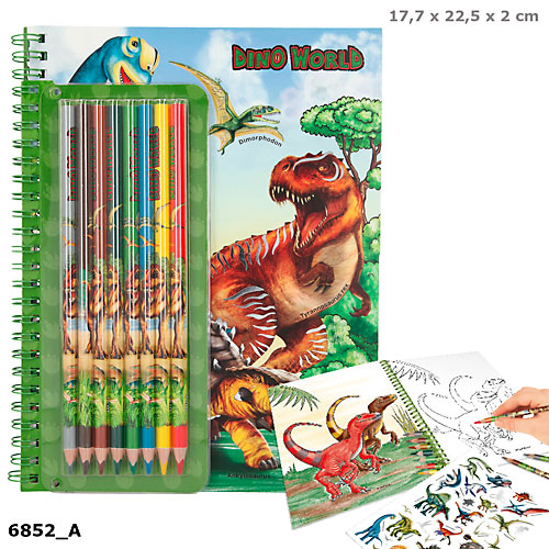 Dino World - Colouring Book With Coloured Pencils (46852)