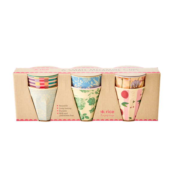 Rice - Melamine Cups 6 Pcs Small - Let's Summer Prints