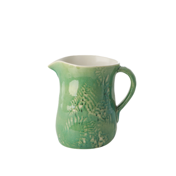 Rice - Ceramic Jug - Embrossed Green