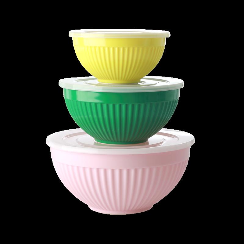 Rice - Melamine Bowls with Lid 3 pcs - Let