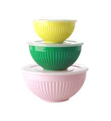 Rice - Melamine Bowls with Lid 3 pcs - Let's Summer 1