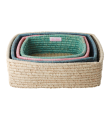 Rice - Rectangular Bread Basket Set of 4 - Multi