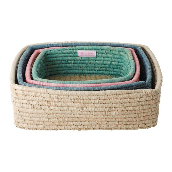 Rice - Rectangular Bread Basket Set of 4 - Multi