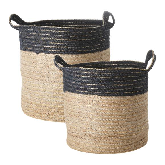 Rice - Set of Round Woven Storage Baskets - Black Edge