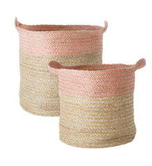 Rice - Set of Round Woven Storage Baskets - Soft Pink Edge