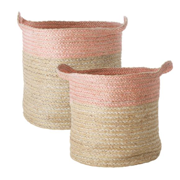Rice - Set of Round Woven Storage Baskets - Soft Pink Edge