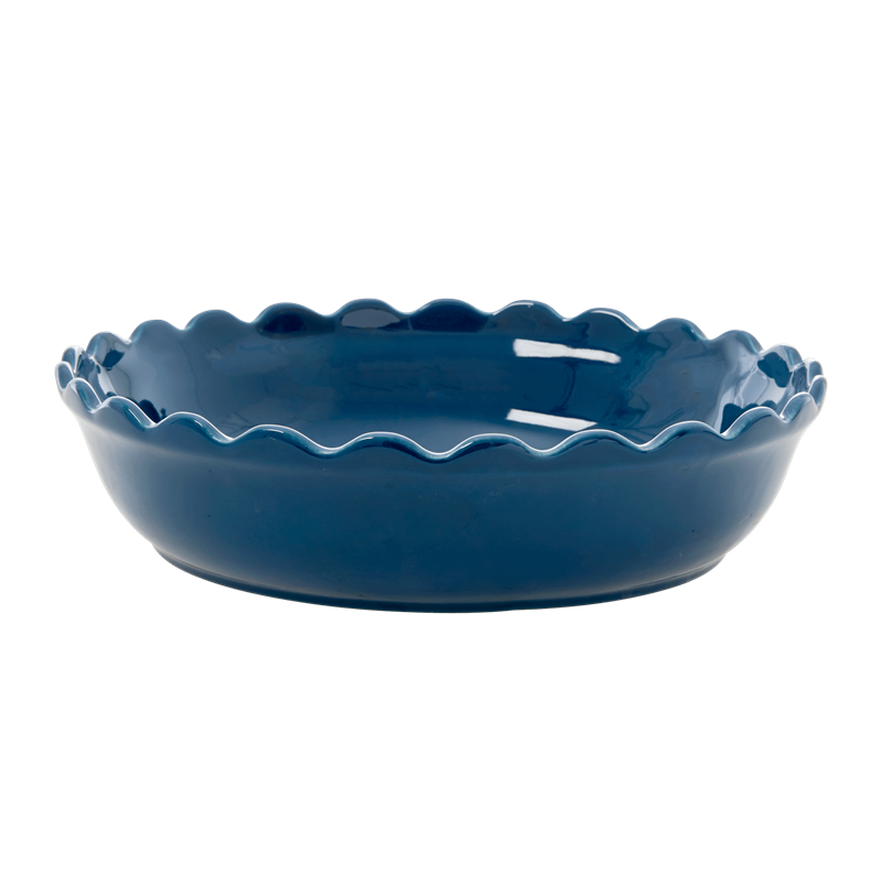 Rice - Stoneware Pie Dish - Dark Blue L