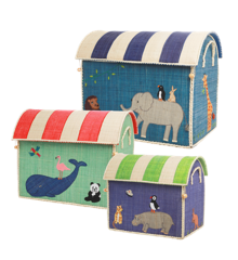 Rice - Large Set of 3 Toy Baskets - Animal Theme