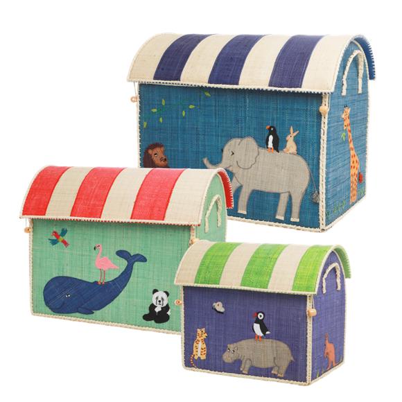Rice - Large Set of 3 Toy Baskets - Animal Theme