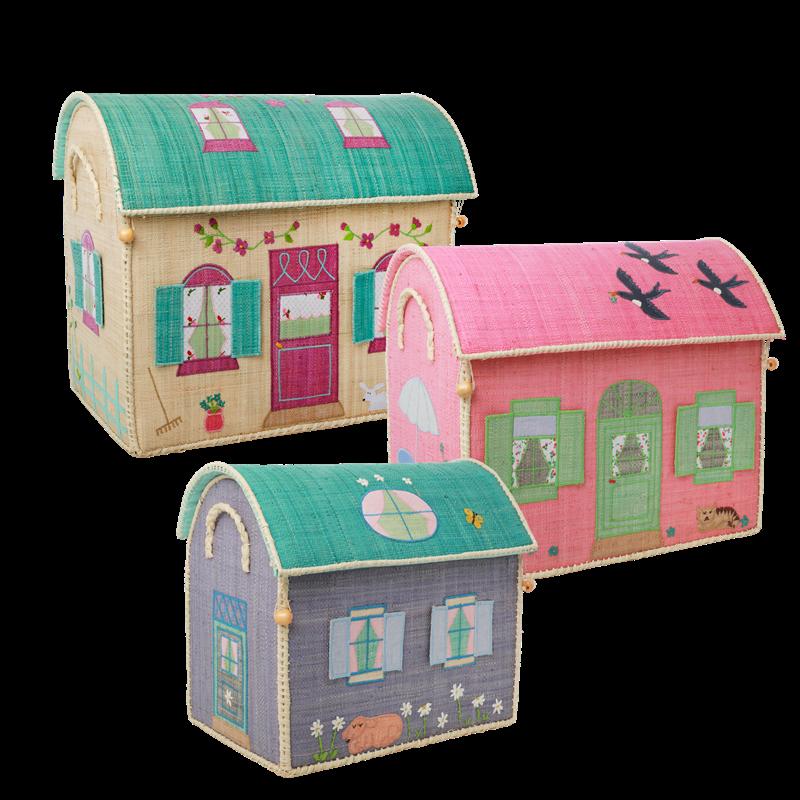 Rice - Large Set of 3 Toy Baskets - House Theme
