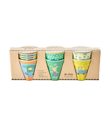 Rice - 6 Pcs Small Melamine Kids Cups - Green Bunny