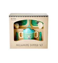 Rice - Melamin Baby Spisesæt - Gaveæske - Grøn Kanin