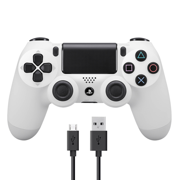 Sony Dualshock 4 Controller v2 - White + COOLGEAR - USB to Micro USB 3m Charge Cable