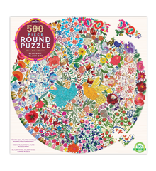 eeBoo - Round Puzzle - Blue Bird Yellow Bird, 500 pc (EPZFBYD)