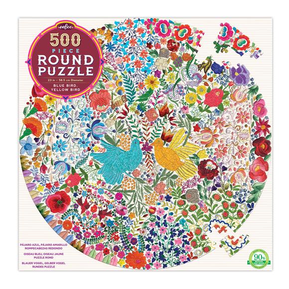 eeBoo - Round Puzzle - Blue Bird Yellow Bird, 500 pc (EPZFBYD)