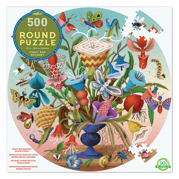 eeboo - Round Puzzle - Flower Bouqet, 500 pc (EPZFCZB)