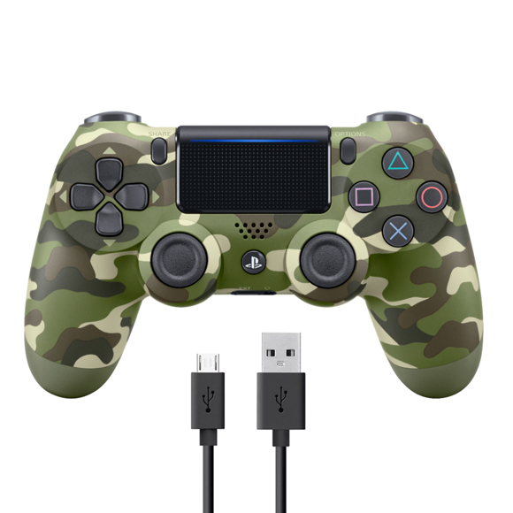 Sony Dualshock 4 Controller v2 - Green Camo + COOLGEAR - USB to Micro USB 3m Charge Cable