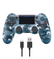 Sony Dualshock 4 Controller v2 - Blue Camouflage + COOLGEAR - USB to Micro USB 3m Charge Cable