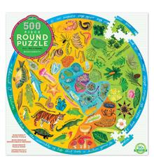 eeBoo - Rundt puslespil 500 brikker - Biodiversitet (EPZFBOD)