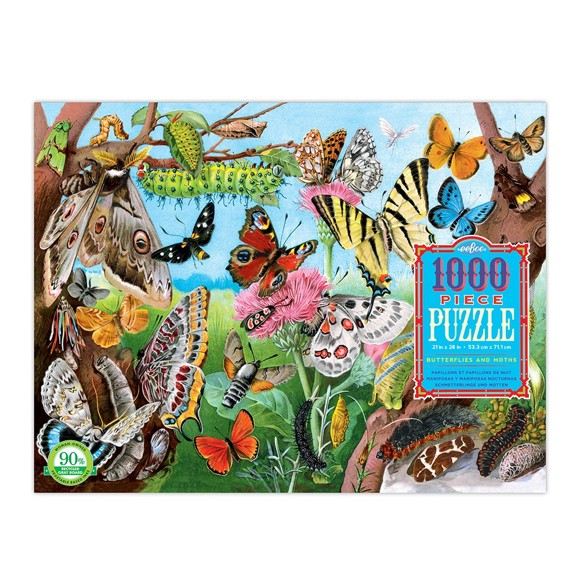 eeBoo - Puzzle - Butterflies and Moths, 1000 pc (EPZTBLM)