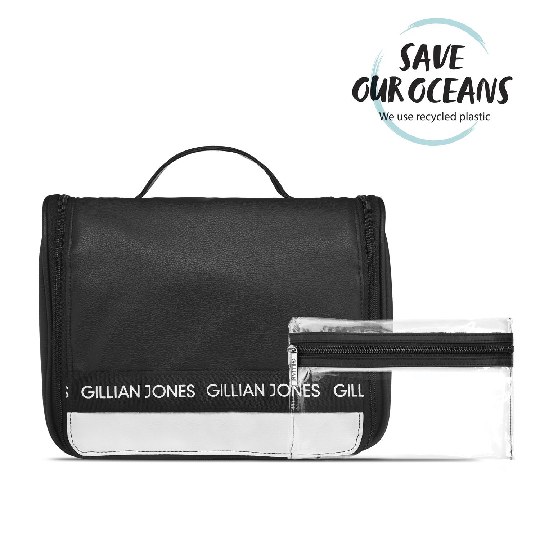 Gillian Jones - Cosmetic Hangup Bag - Black/White