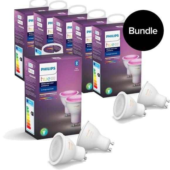 Philips Hue - 6xGU10 2-Pack - Color Ambiance - Bluetooth - Bundle