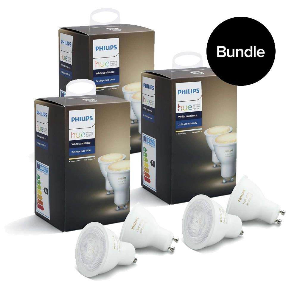 Philips Hue - 3xDoppelpack GU10 - White Ambiance - Neue Bluetooth Edition - Bundle
