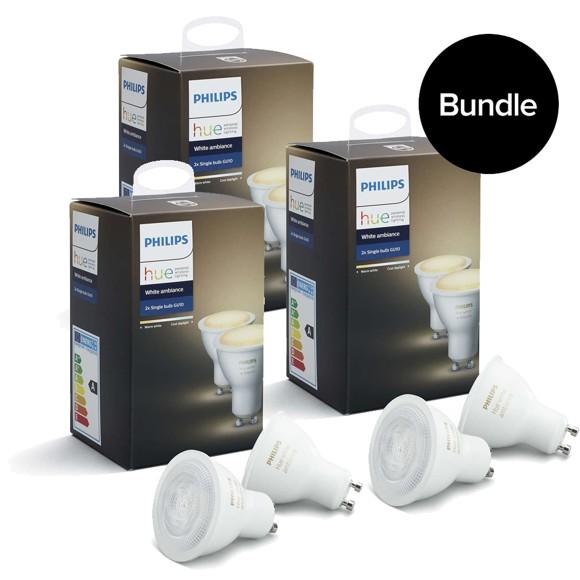 Philips Hue - 3xGU10 Dual Pack - White Ambiance - Bluetooth - Bundle