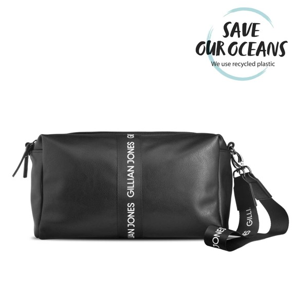 Gillian Jones - Toiletry Bag Black w. White Ribbon