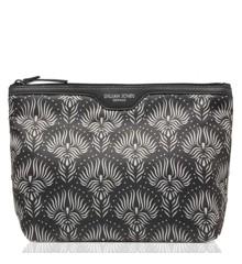 Gillian Jones - Toiletry Bag - Black/White Lotus Print