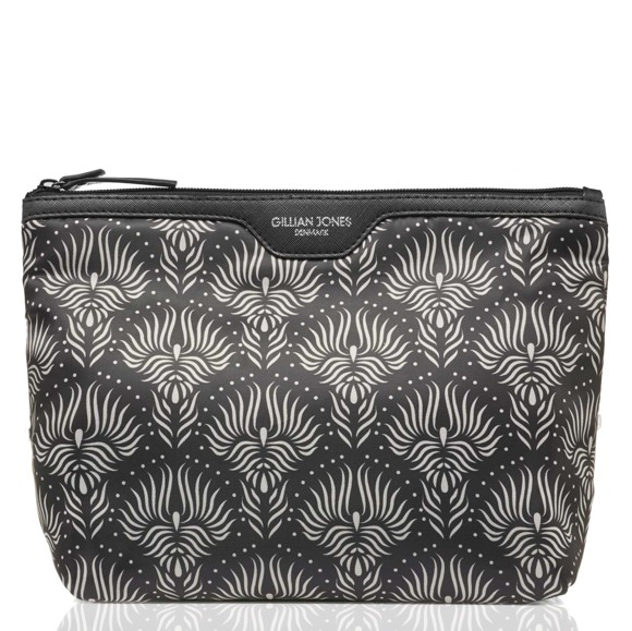 Gillian Jones - Toiletry Bag - Black/White Lotus Print