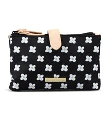 Gillian Jones - Makeup Purse - Black w. White Daisies