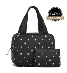 Karen - 2 Pcs Cosmetic Bag Set - Black w. Daisies