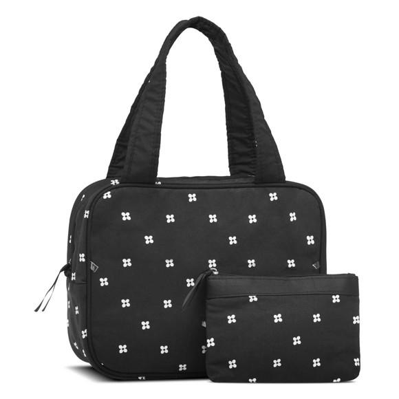 Karen - 2 Pcs Cosmetic Bag Set - Black w. Daisies